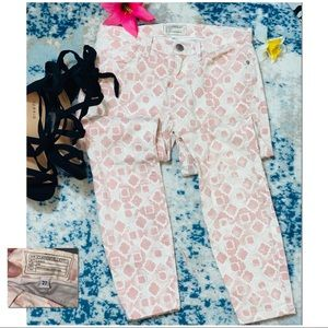 CURRENT/ELLIOT EUC Pink White Printed Skinny Jeans